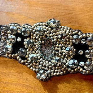 Beaded and Embroidered Satin Bracelet